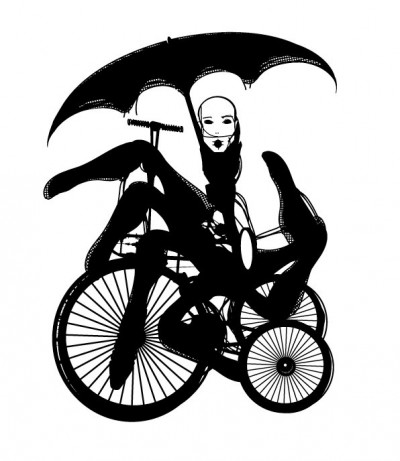 Model on Bicycle, inspired by Molinier